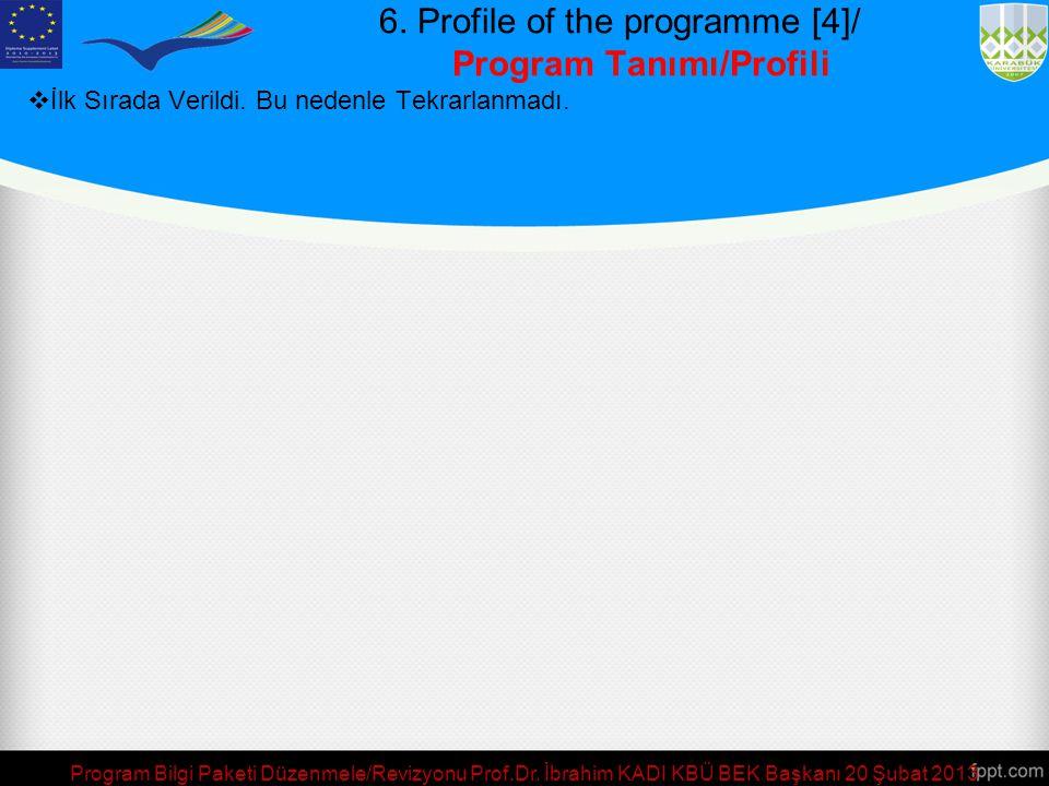 6. Profile of the programme [4]/ Program Tanımı/Profili